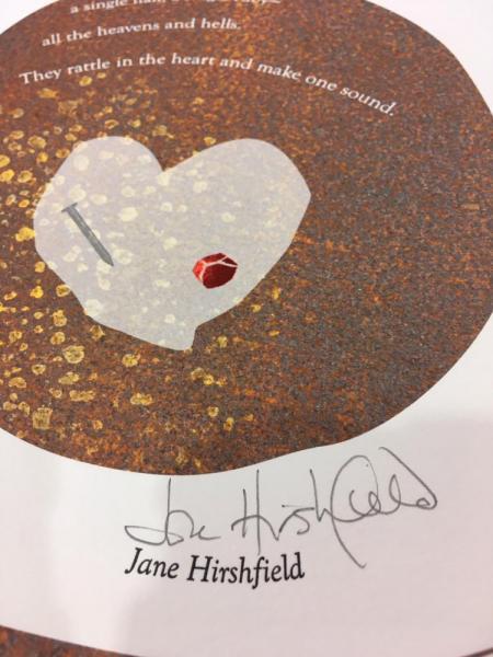 "Detail from ""Late Prayer"" by Jane Hirshfield, broadside designed by Jim Cokas"