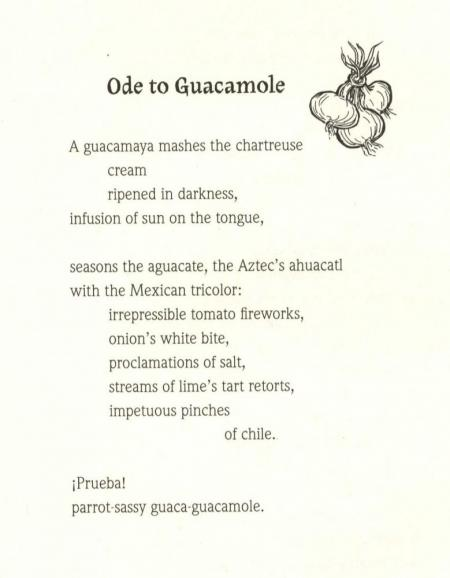 """Ode to Guacamole"" from Adobe Odes by Pat Mora, University of Arizona Press, 2006"