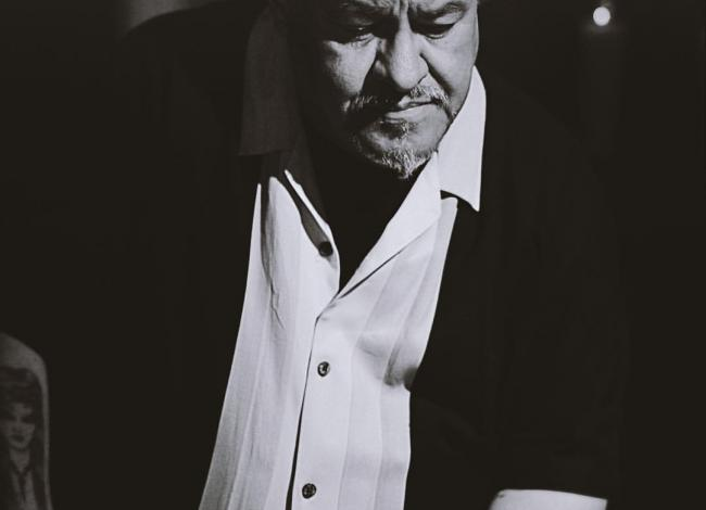 black and white photo of Luis J. Rodriguez