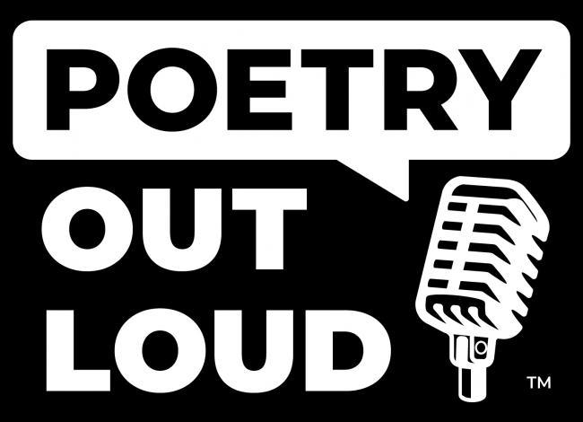 Poetry Out Loud logo with title and microphone